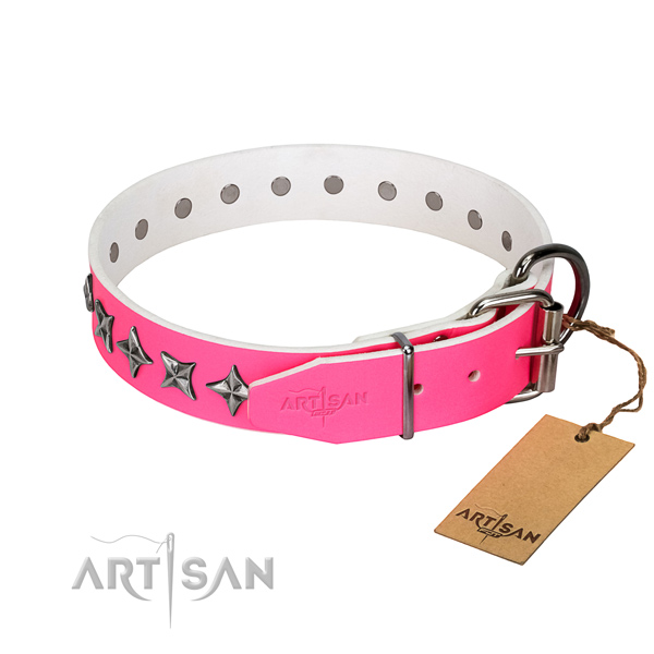 Finest quality leather dog collar with stunning embellishments