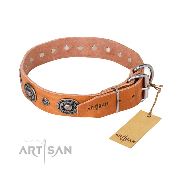 Flexible leather dog collar handcrafted for everyday use