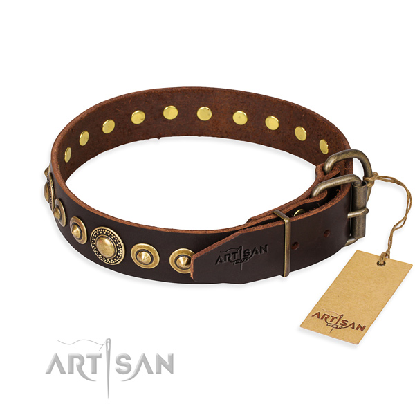 Strong natural genuine leather dog collar handmade for daily use