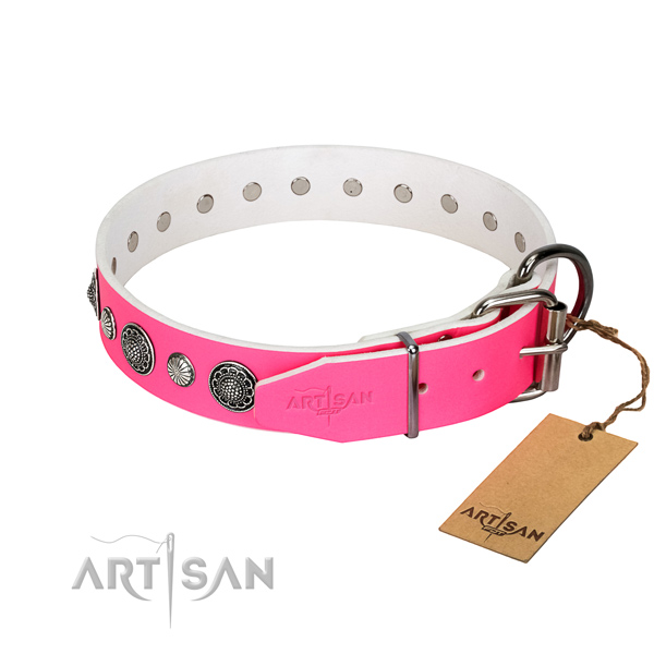 Soft to touch leather dog collar with rust-proof buckle