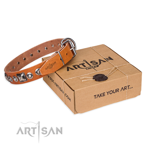 Leather dog collar made of top notch material with reliable buckle
