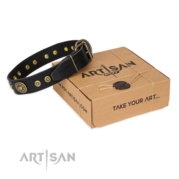 Full grain genuine leather dog collar made of reliable material with corrosion proof buckle