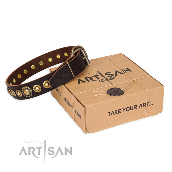 Gentle to touch full grain leather dog collar crafted for everyday use