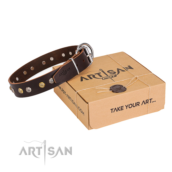 High quality full grain leather dog collar handmade for comfy wearing