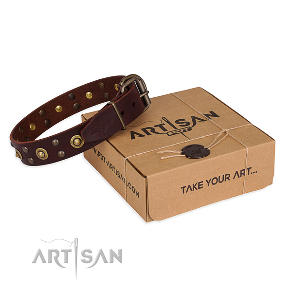 Reliable buckle on full grain genuine leather collar for your stylish doggie
