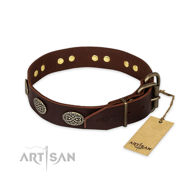Rust resistant fittings on full grain natural leather collar for your attractive doggie