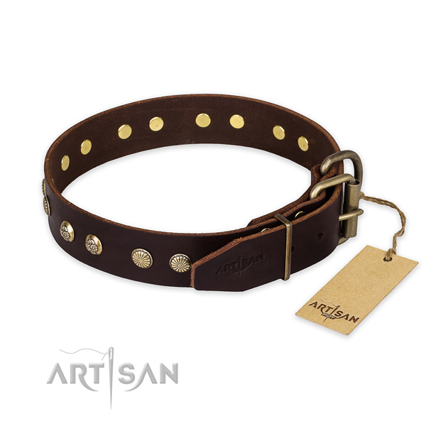 Reliable buckle on natural genuine leather collar for your impressive four-legged friend