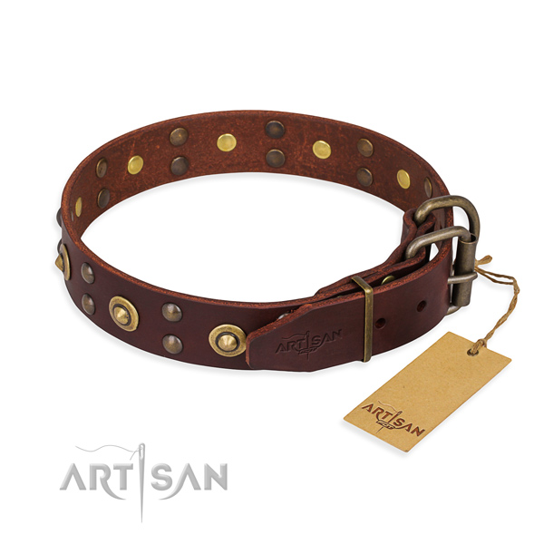 Rust resistant fittings on genuine leather collar for your attractive doggie