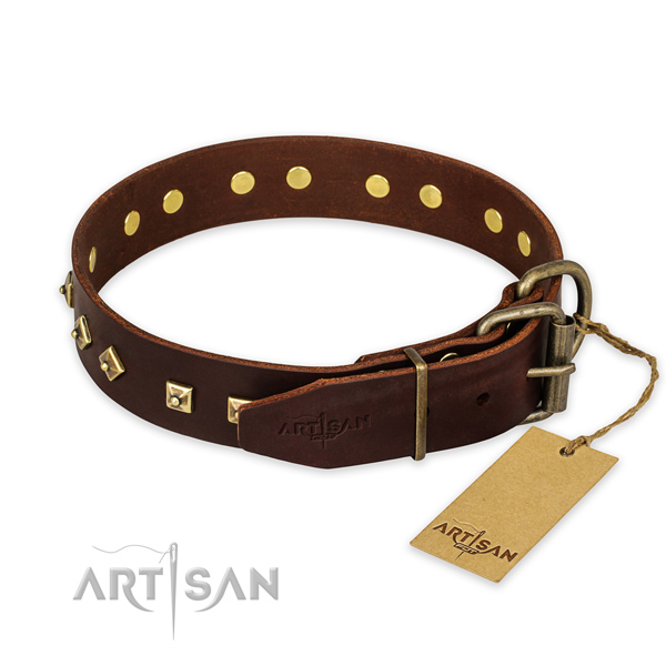 Corrosion resistant hardware on full grain natural leather collar for basic training your pet