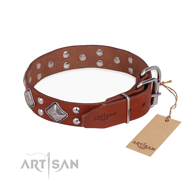 Full grain leather dog collar with impressive corrosion resistant adornments