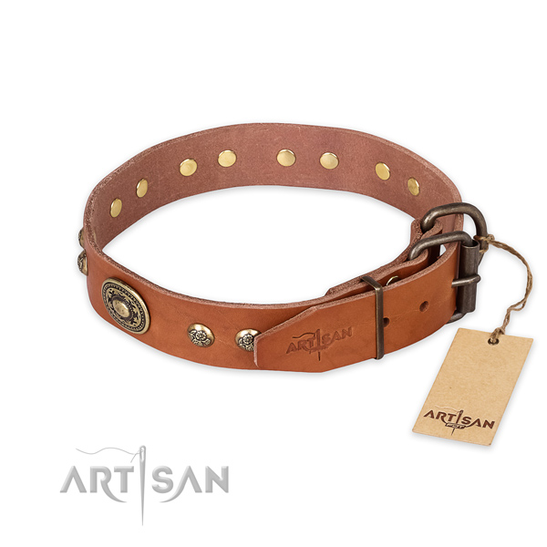 Rust-proof fittings on genuine leather collar for walking your doggie