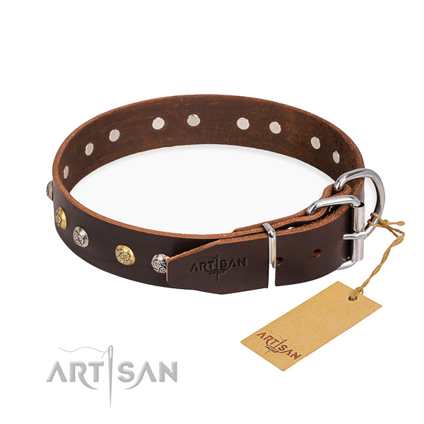 Flexible full grain natural leather dog collar created for everyday walking