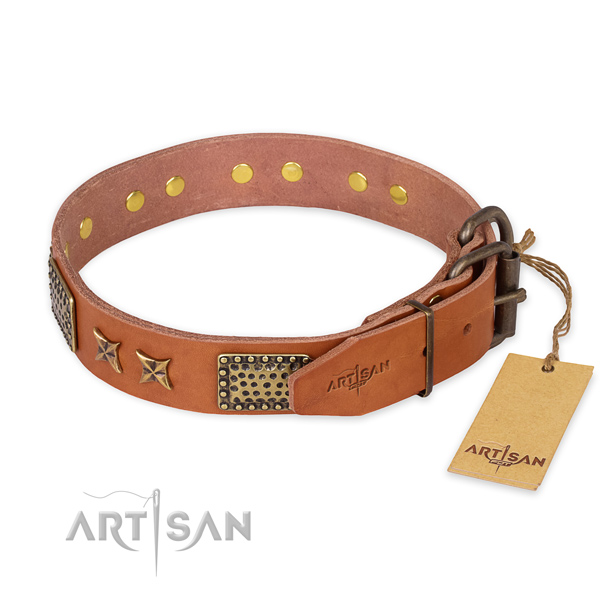 Rust-proof hardware on leather collar for your impressive doggie