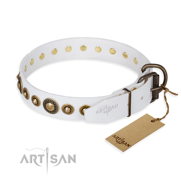 Quality natural genuine leather dog collar handcrafted for daily walking