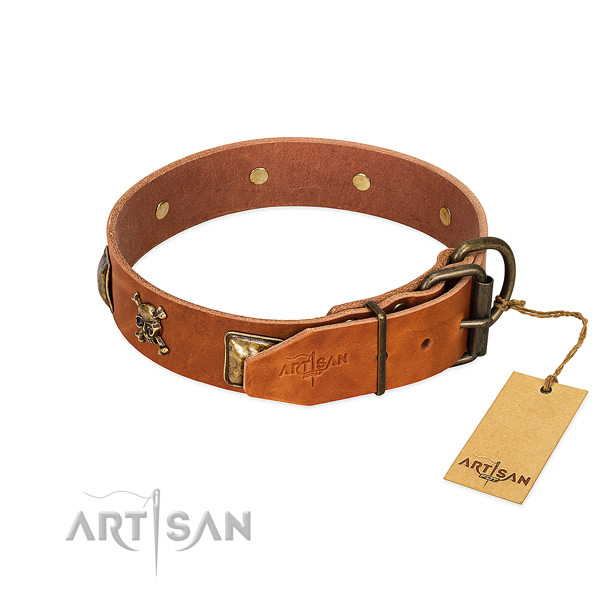 Remarkable full grain genuine leather dog collar with strong adornments