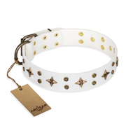 """Bright Stars"" FDT Artisan White Leather dog Collar with Old Bronze Look Decorations"