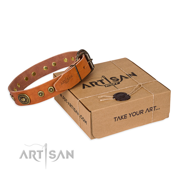 Genuine leather dog collar made of quality material with rust-proof buckle