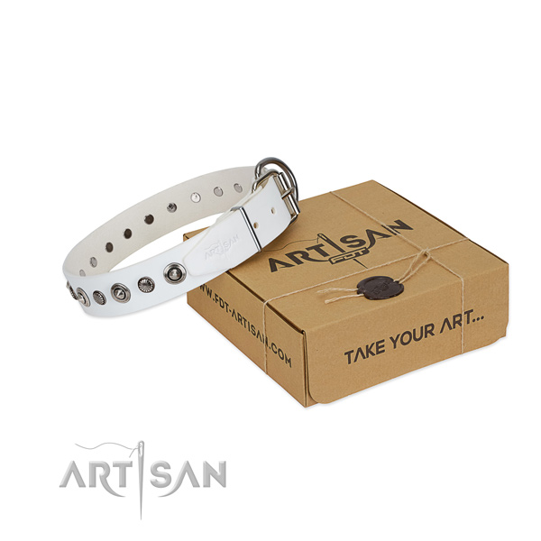 Finest quality genuine leather dog collar with stylish design decorations