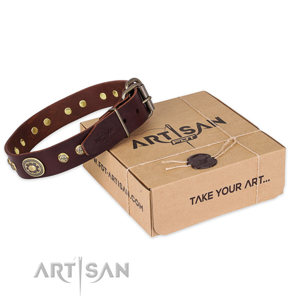 Rust resistant traditional buckle on full grain natural leather dog collar for easy wearing
