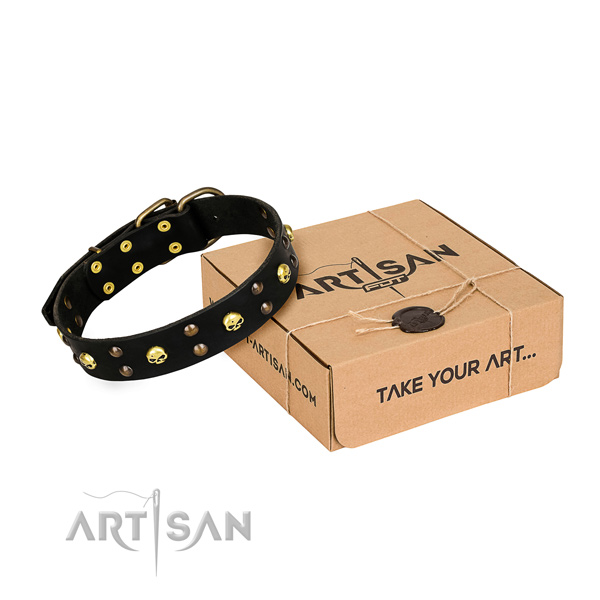 Comfy wearing dog collar of high quality natural leather with studs