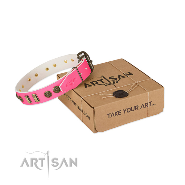 Strong studs on full grain natural leather dog collar for your doggie