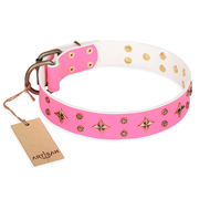 """Chi-Chi Pink Rose"" FDT Artisan Leather dog Collar with Decorations"