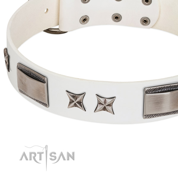 High quality full grain genuine leather dog collar with durable traditional buckle