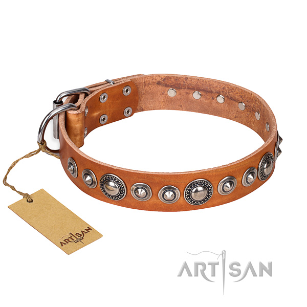 Full grain genuine leather dog collar made of top rate material with corrosion resistant fittings