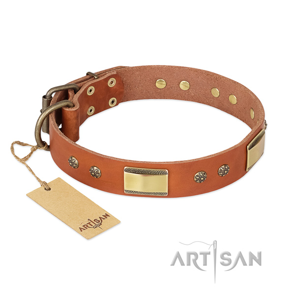 Embellished natural genuine leather collar for your canine