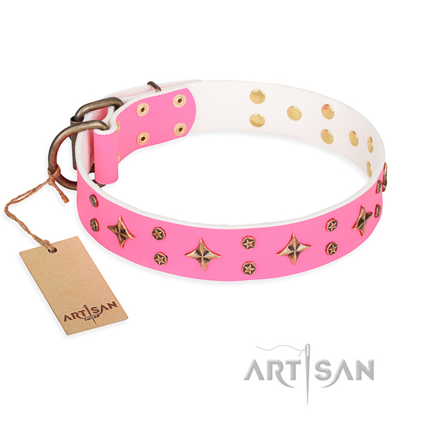 Comfortable wearing dog collar of durable full grain leather with studs