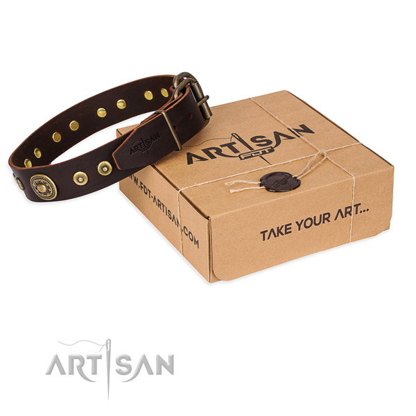 Full grain leather dog collar made of reliable material with strong D-ring