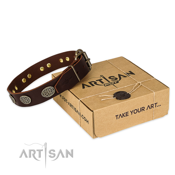 Durable fittings on full grain genuine leather collar for your beautiful pet