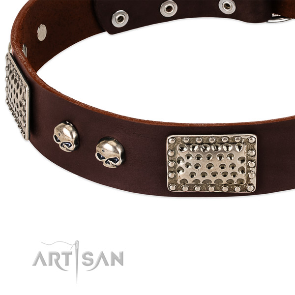 Strong decorations on genuine leather dog collar for your dog