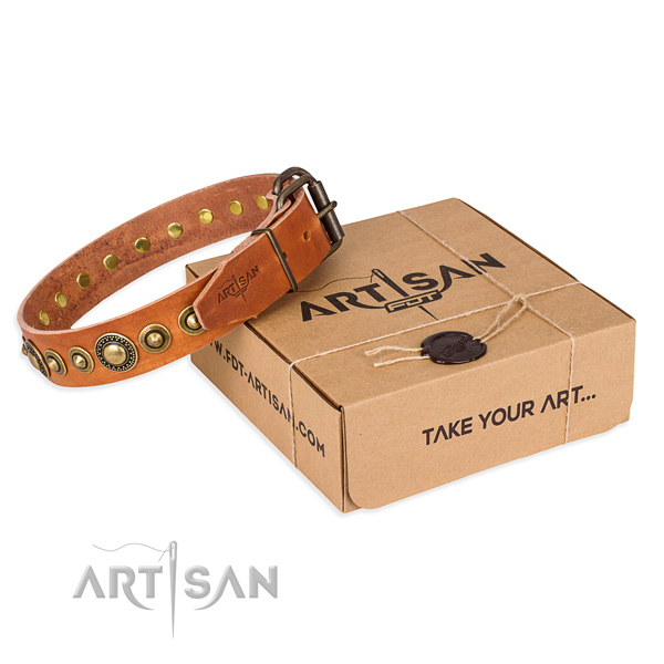 High quality full grain genuine leather dog collar crafted for comfortable wearing