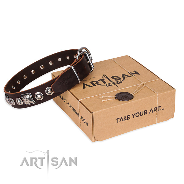 Full grain genuine leather dog collar made of gentle to touch material with strong buckle
