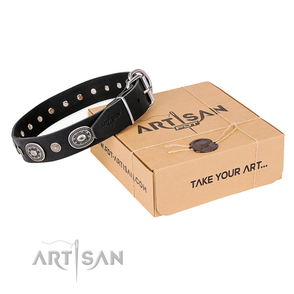 Soft genuine leather dog collar crafted for easy wearing