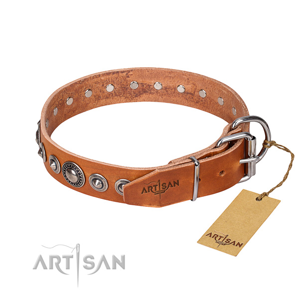 Genuine leather dog collar made of soft material with strong studs