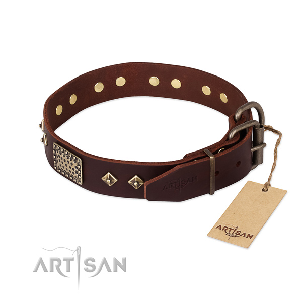 Full grain natural leather dog collar with corrosion proof buckle and decorations
