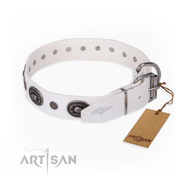 Durable natural genuine leather dog collar handmade for everyday use