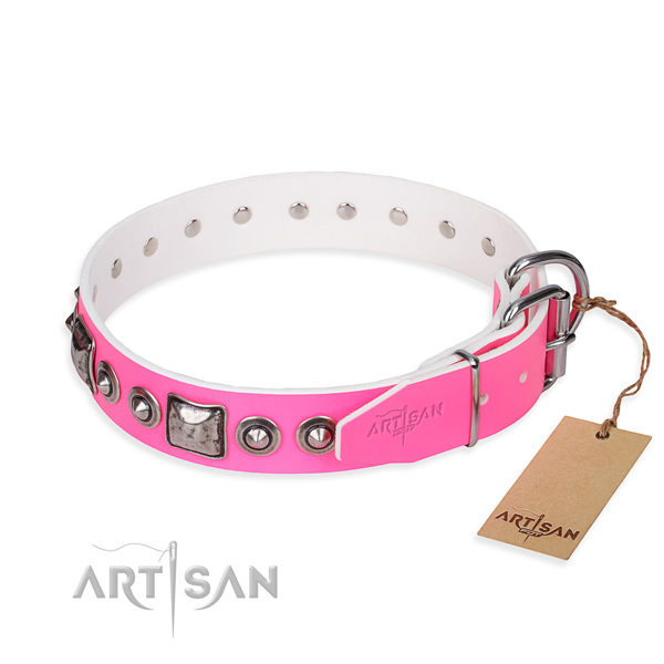 High quality natural genuine leather dog collar crafted for everyday walking