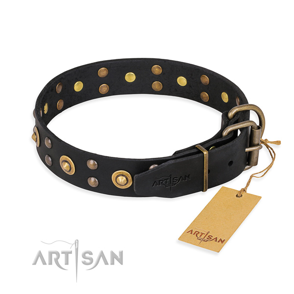 Corrosion resistant fittings on genuine leather collar for your lovely canine
