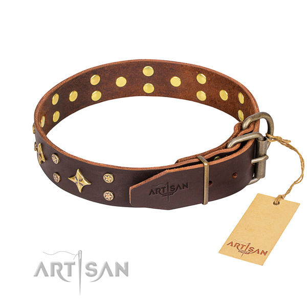 Easy wearing decorated dog collar of finest quality natural leather