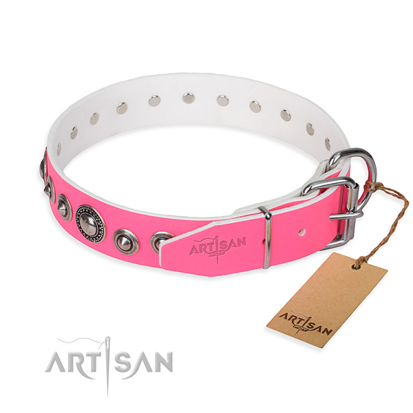 Genuine leather dog collar made of high quality material with reliable studs