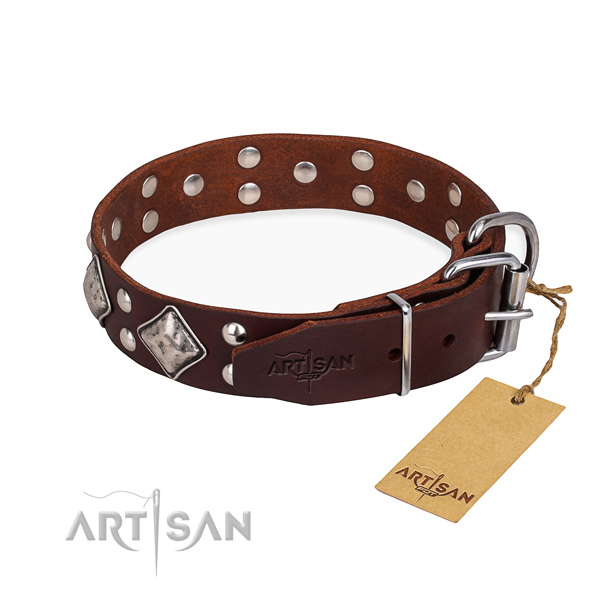 Full grain natural leather dog collar with fashionable reliable decorations