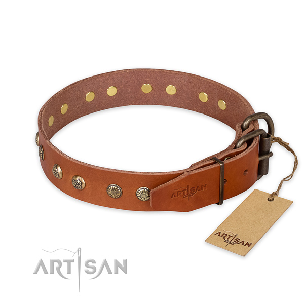 Rust resistant buckle on leather collar for your stylish pet