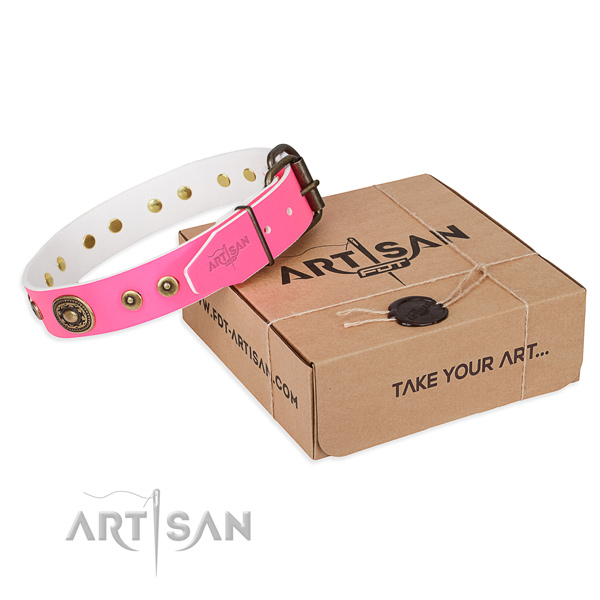 Full grain natural leather dog collar made of high quality material with corrosion resistant D-ring