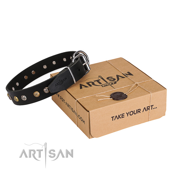 Soft to touch full grain genuine leather dog collar crafted for daily use