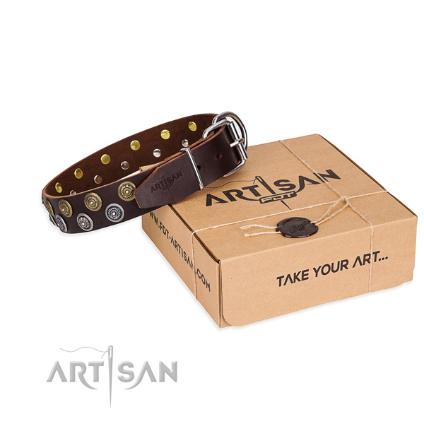 Handy use dog collar of fine quality genuine leather with studs