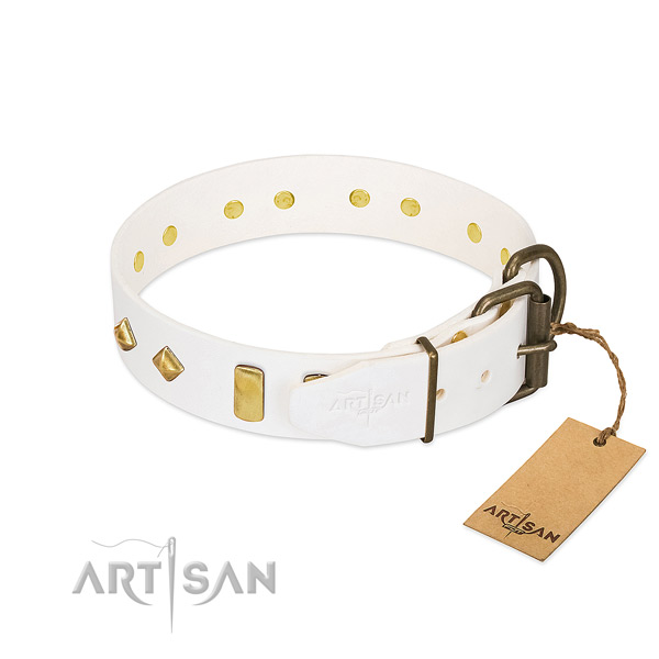 Gentle to touch full grain natural leather dog collar with corrosion resistant D-ring