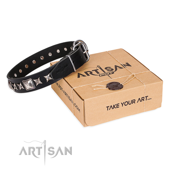 Daily use dog collar of durable full grain leather with decorations
